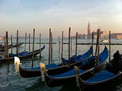 Gondolas bobbing in the sea