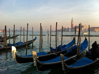 Gondolas bobbing in the sea