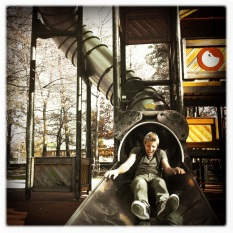 Oli on the slide in Lugano